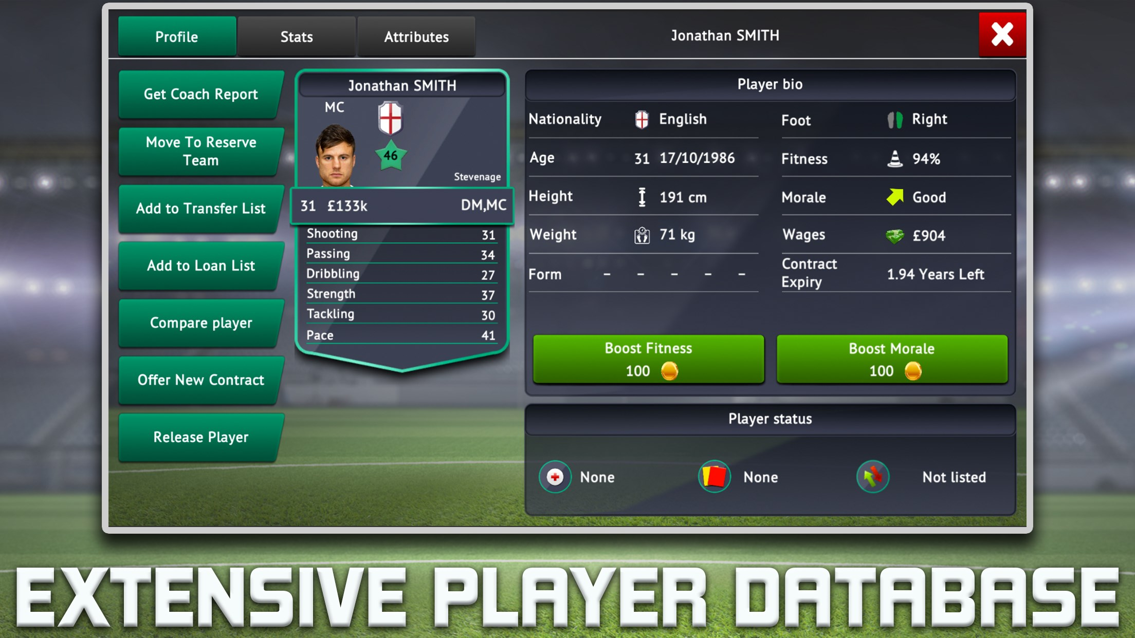 Soccer Manager 2019 Extensive Player Database