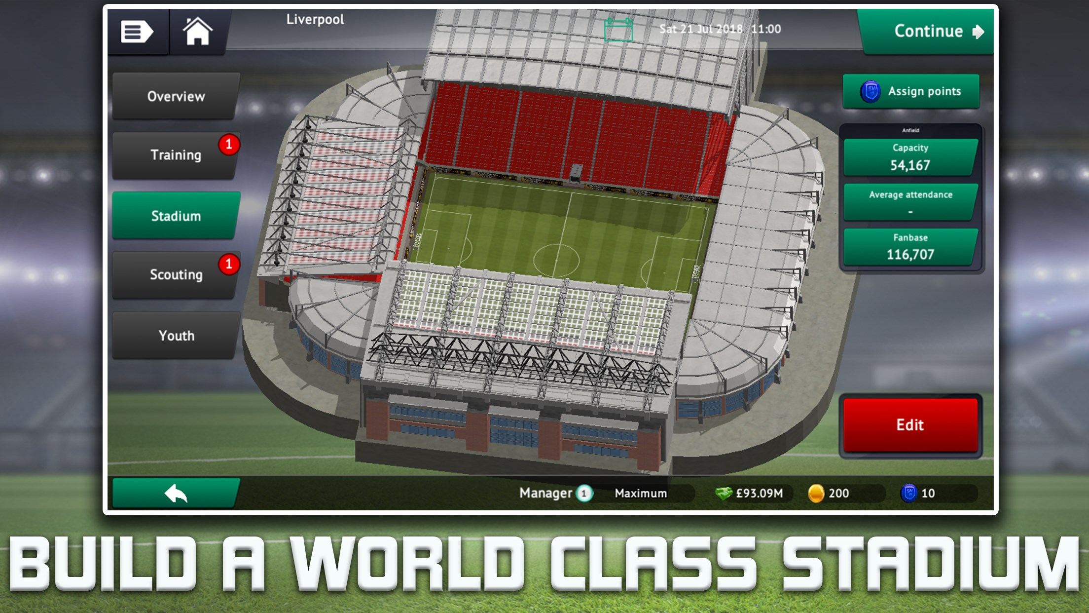 Soccer Manager 2019 Build A World Class Stadium
