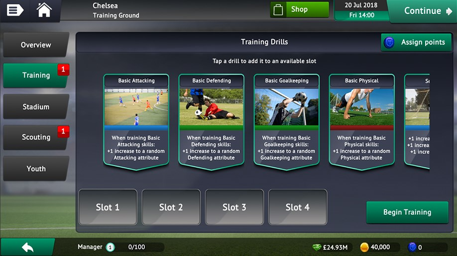 Soccer Manager 2019 In-depth Training System